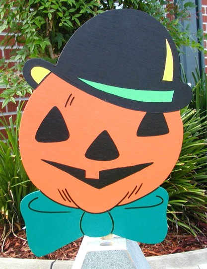 Jack-O-Lantern with Top Hat Lawn Sign