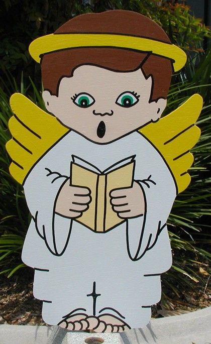 Angel Boy Book Lawn Sign