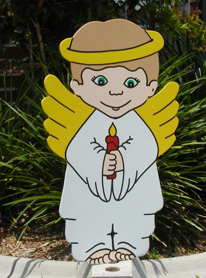 Angel Boy Candle Lawn Sign