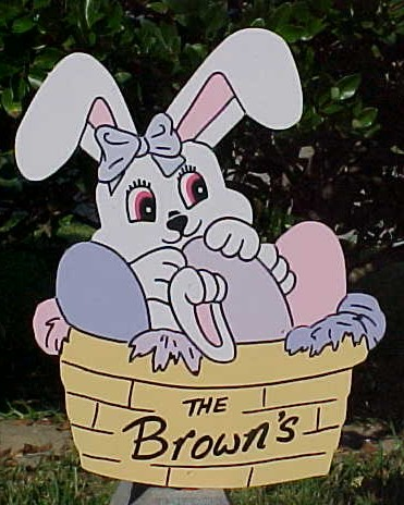 Bunny In A Basket Lawn Sign