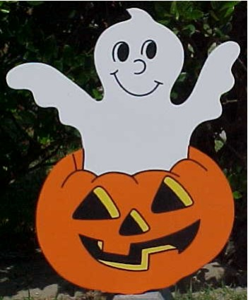 Ghost in a Pumpkin Lawn Sign
