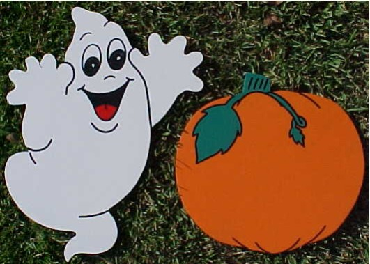 Small Pumpkin or Ghost Lawn Signs
