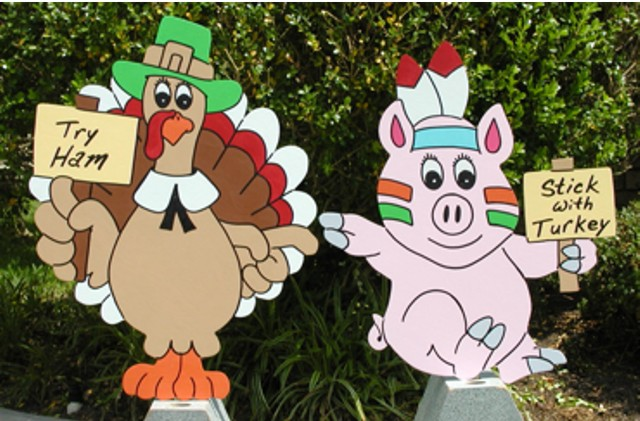 Turkey and Pig Lawn Sign Set